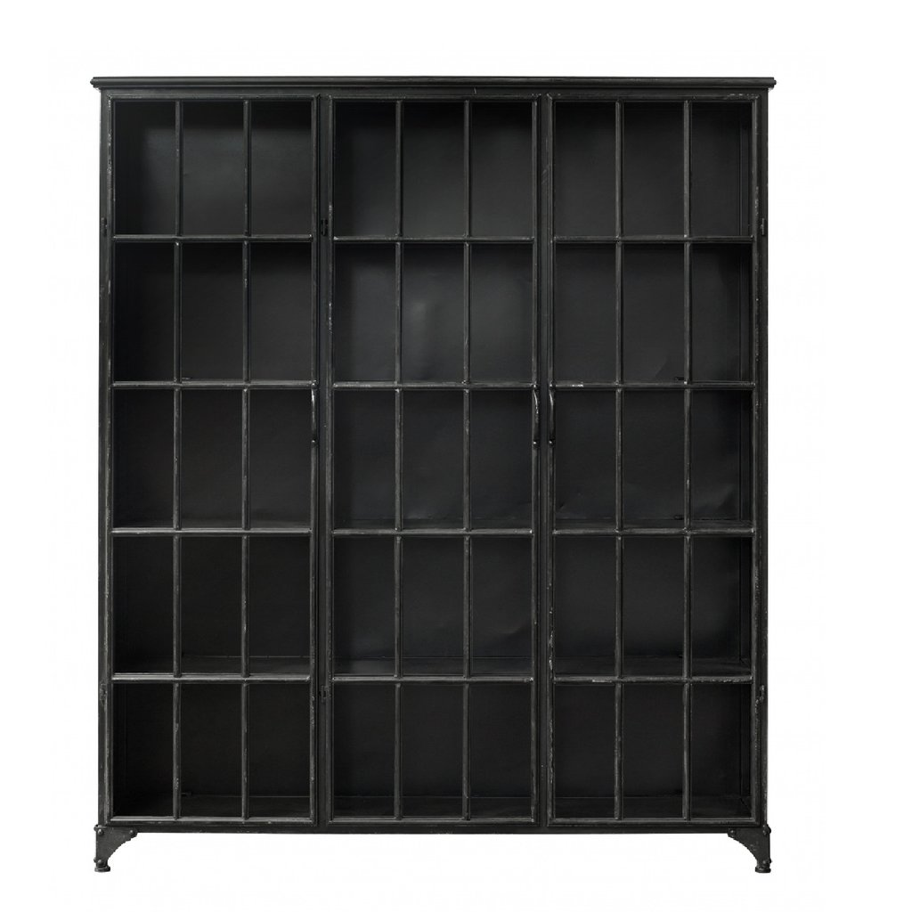 Nordal Nordal - Downtown iron cabinet, black - Kast metaal 3-deurs - Zwart - L