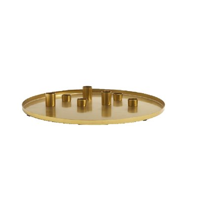 Nordal Nordal - Golden Tray W/7 candle cups - Kaarsenhouder - L