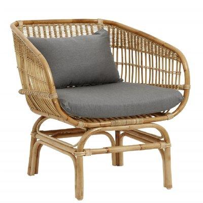 Nordal Nordal - Rattan armchair w/grey seatpads, natural - Stoel rattan (incl. kussens) - Grijs