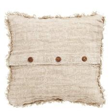 Nordal Nordal - Cushion cover, rose, linen w/fringes - Kussenhoes linnen met franjes (incl. vulling) - Rose - 48x48