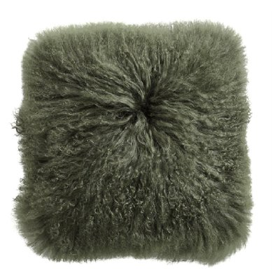Nordal Nordal - Lamb fur cushion cover, dark green - Kussenhoes lamswol (incl. vulling) - Donkergroen