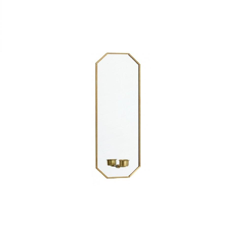 Nordal Nordal - Mirror w/candle holder, golden - Spiegel met kaarsenhouder - Goud - 38x13