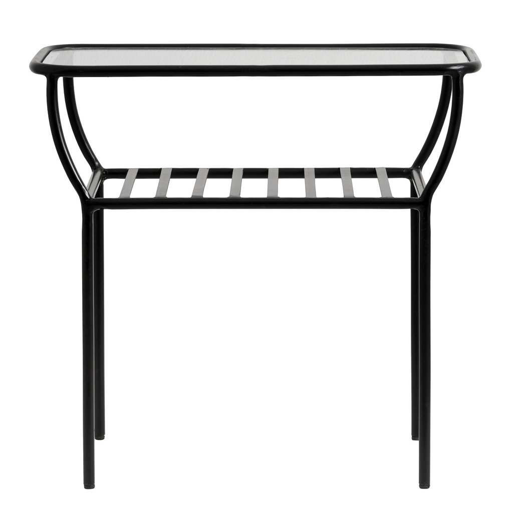 Nordal Nordal - Side table, tafel black, w/glass plate, bars - Bijzettafel met glazen plaat - Zwart
