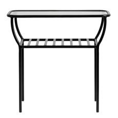 Nordal Nordal - Side table, black, w/glass plate, bars - Bijzettafel met glazen plaat - Zwart
