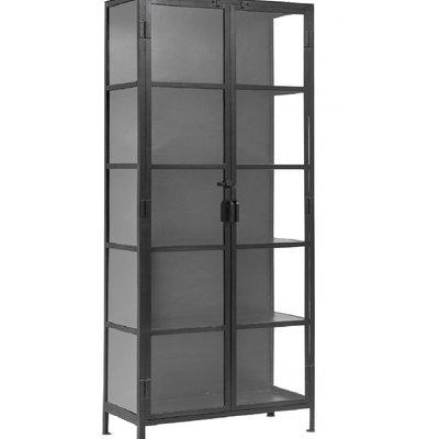 Nordal Nordal - Black cabinet, 2 doors, iron/glass - Kast metaal 2-deurs - Metaal/glas