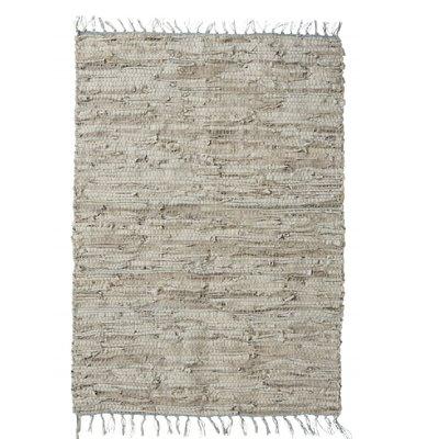 Nordal Nordal - Cloudy grey leather carpet - Vloerkleed - Grijs - 110x170