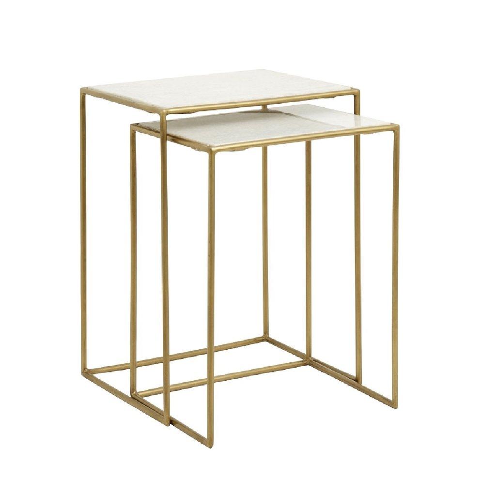 Nordal Nordal - Side tables, tafel s/2, white marble, brass - Bijzettafels, set van 2 - Wit marmer/messing