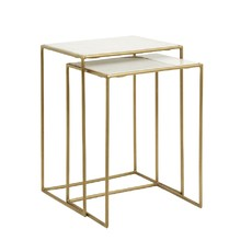 Nordal Nordal - Side tables, s/2, white marble, brass - Bijzettafels, set van 2 - Wit marmer/messing