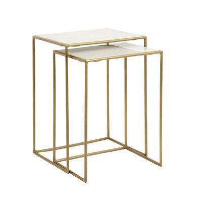 Nordal Nordal - Side tables, s/2, white marble, brass - Bijzettafels, set van 2 - Wit marmer/messing