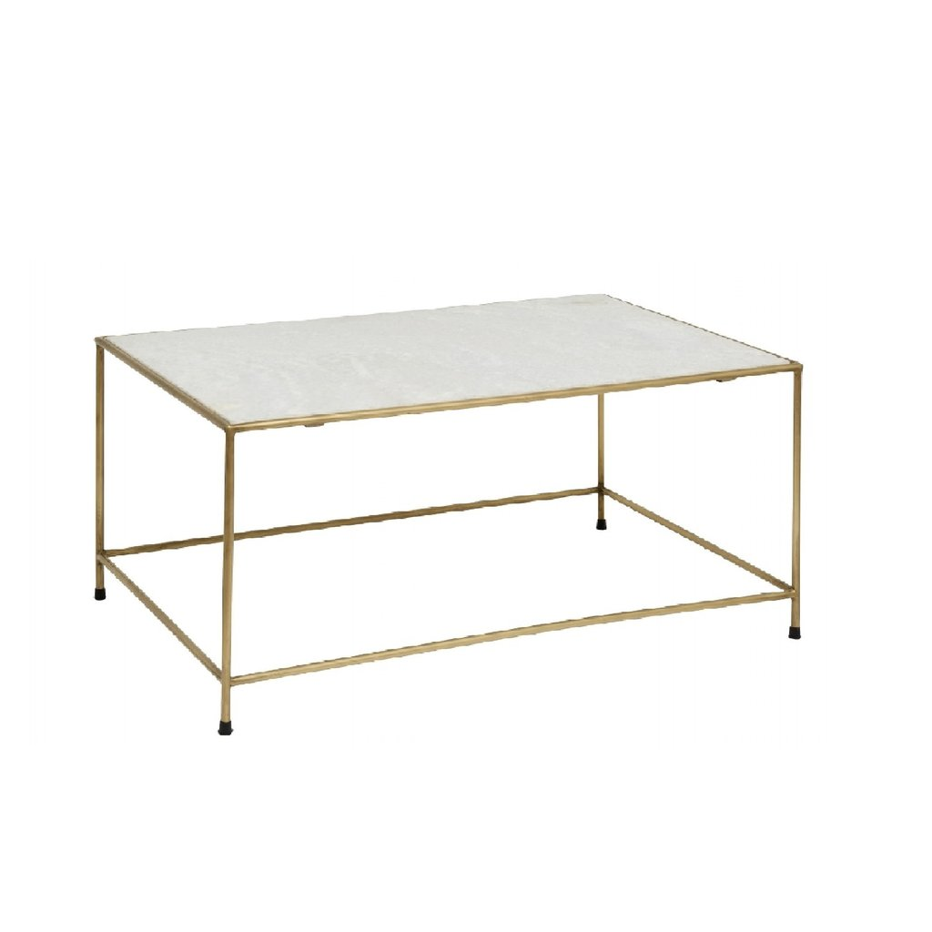 Nordal Nordal - Timeless coffee table white marble/brass - Koffietafel - Wit marmer/messing
