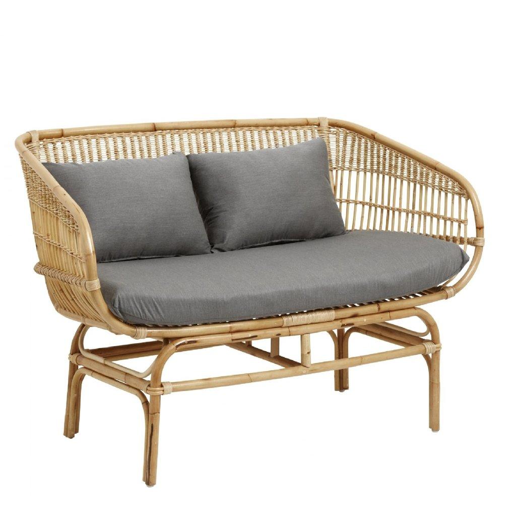 Nordal Nordal - Rattan sofa w/grey seat pads, natural - Bank rattan (incl. kussens) - Grijs