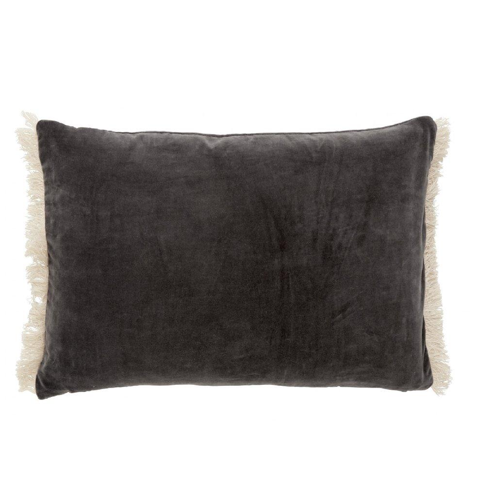Nordal Nordal - Cushion cover w/fringes, dark grey - Kussenhoes met franjes - Donkergrijs - 40x65