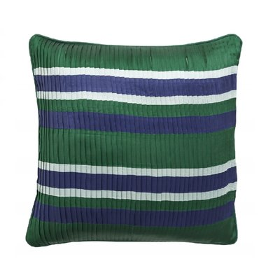 Nordal Nordal - Pleated cushion c. stripes, d.green/navy - Kussenhoes plissé (incl. vulling) - Donkergroen - 48x48