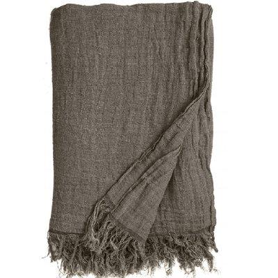 Nordal Nordal - Bed cover w/fringes, linen, grey-brown- Plaid linen - Grijsbruin