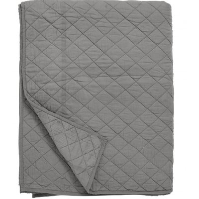 Nordal Nordal - Cotton quilt, bed spread, dark grey - Plaid katoen - Donkergrijs - 220x270