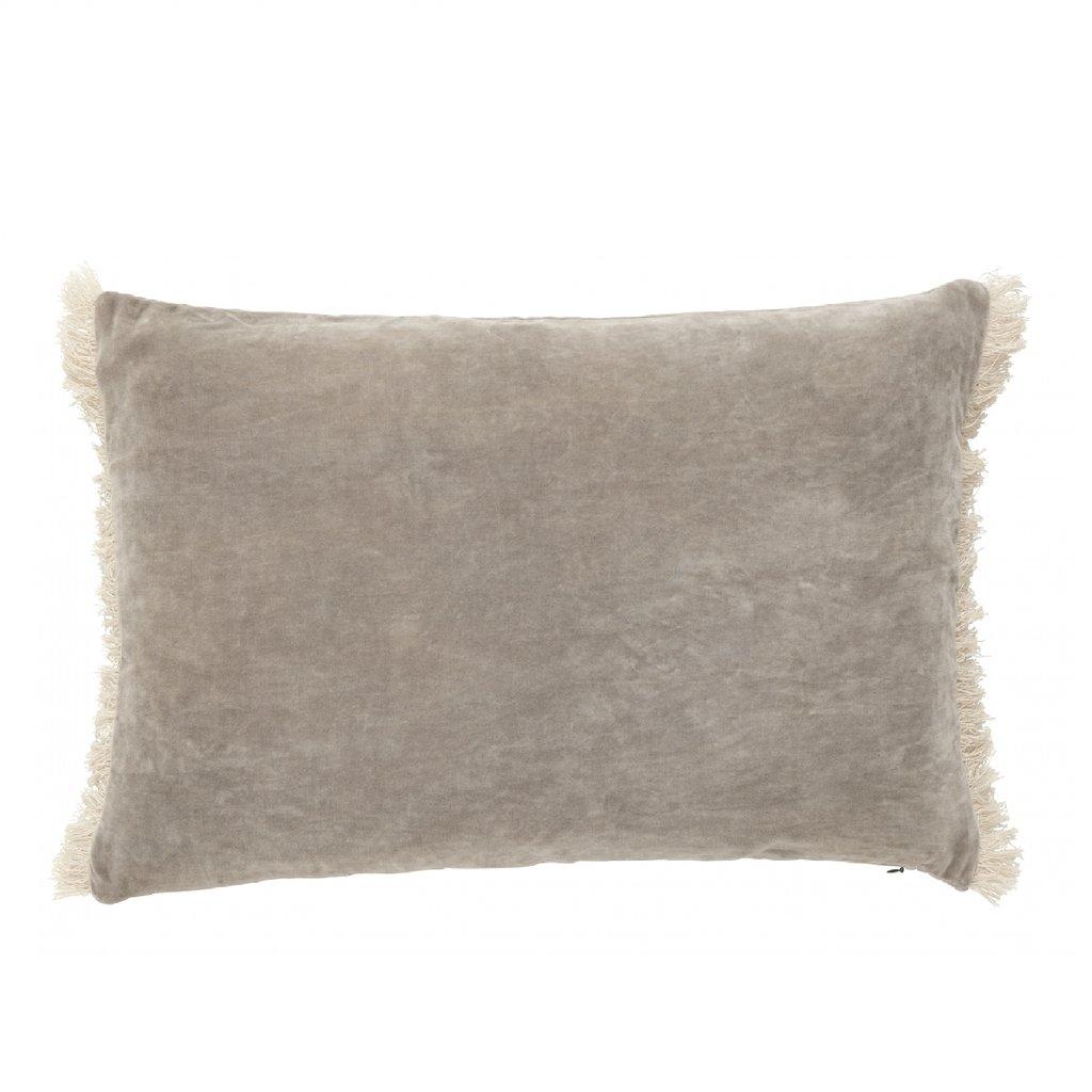 Nordal Nordal - Cushion cover w/fringes, beige/grijs - Kussenhoes met franjes - Beige - 40x65