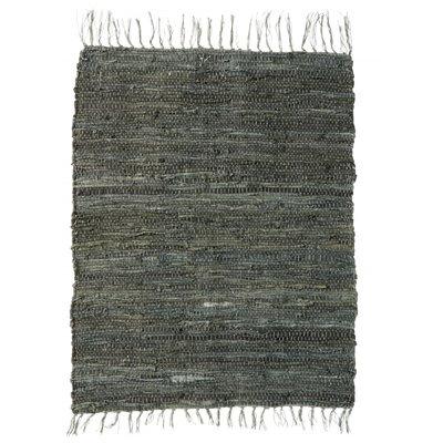 Nordal Nordal - Pine green leather carpet - Vloerkleed - Groen - 60x90