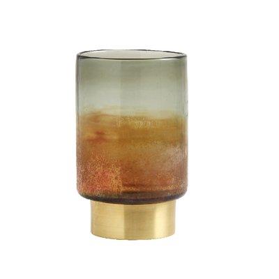 Nordal Nordal - Glass lantern multi col, brass base, M - Glazen lantaarn - Messing - M