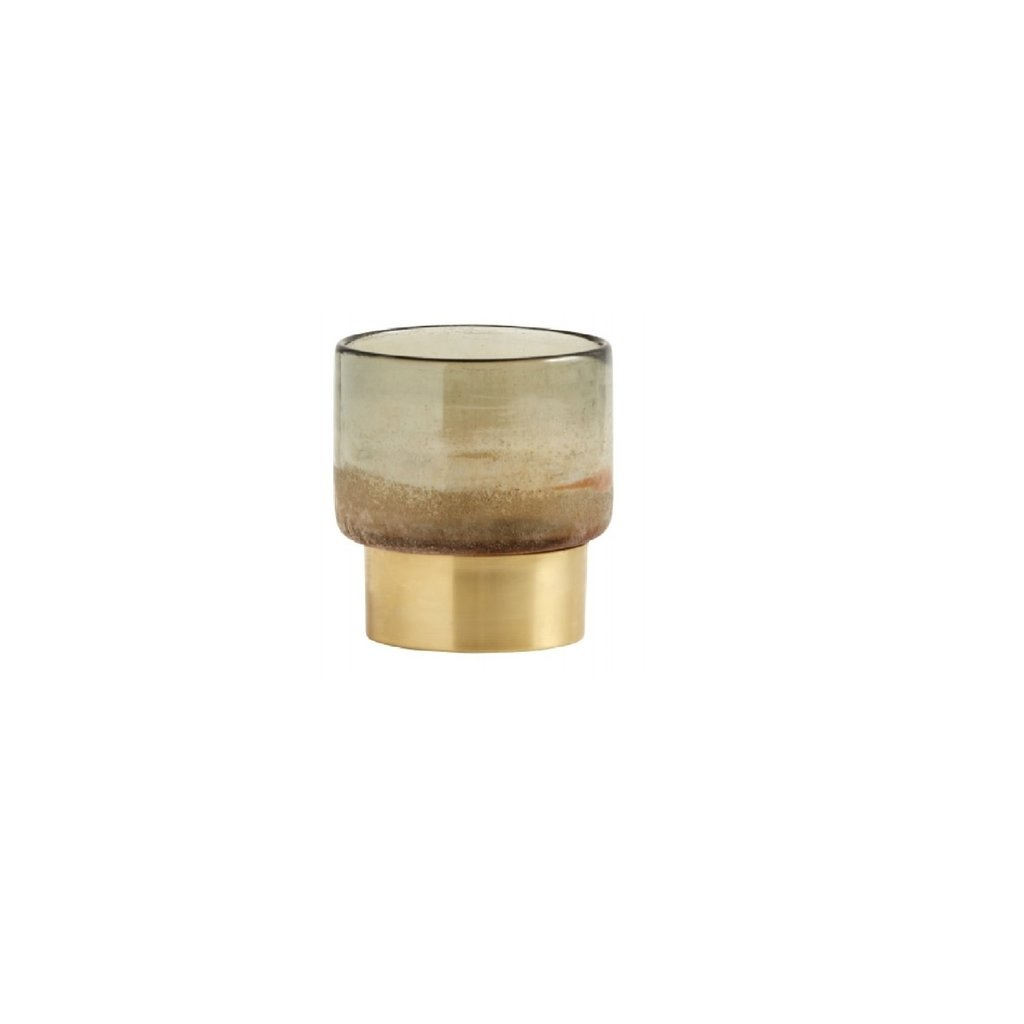Nordal Nordal - Glass lantern multi col, brass base, S - Glazen lantaarn - Messing - S