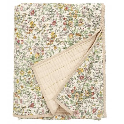Nordal Quilt w/flowers, light pink back 140 x 210 cm