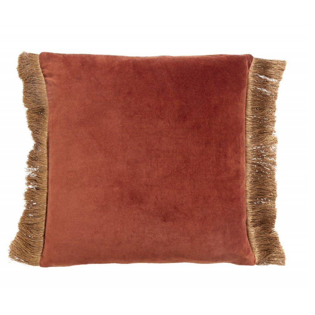 Nordal Cushion cover w/fringes, terracotta/gold 48 x 48 cm