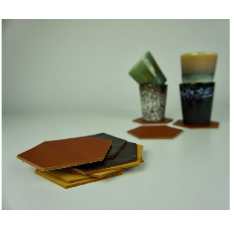Handles & More Leather Coaster 'Hexagon'- set of 6 mixed