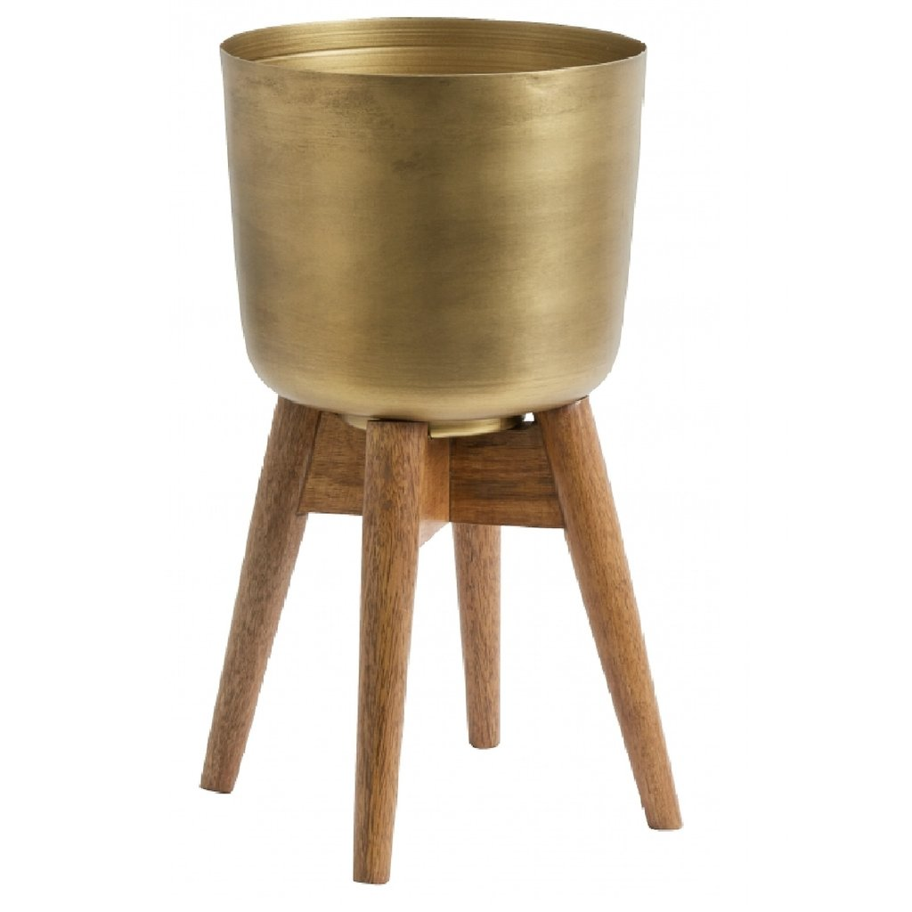 Nordal Planter on stand, large, brass/wood