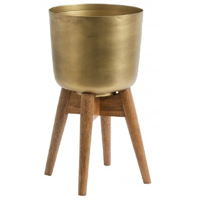 Nordal Planter on stand, large, brass/wood 52 cm