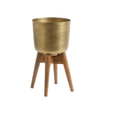 Nordal Planter on stand, medium, brass/wood 38 cm