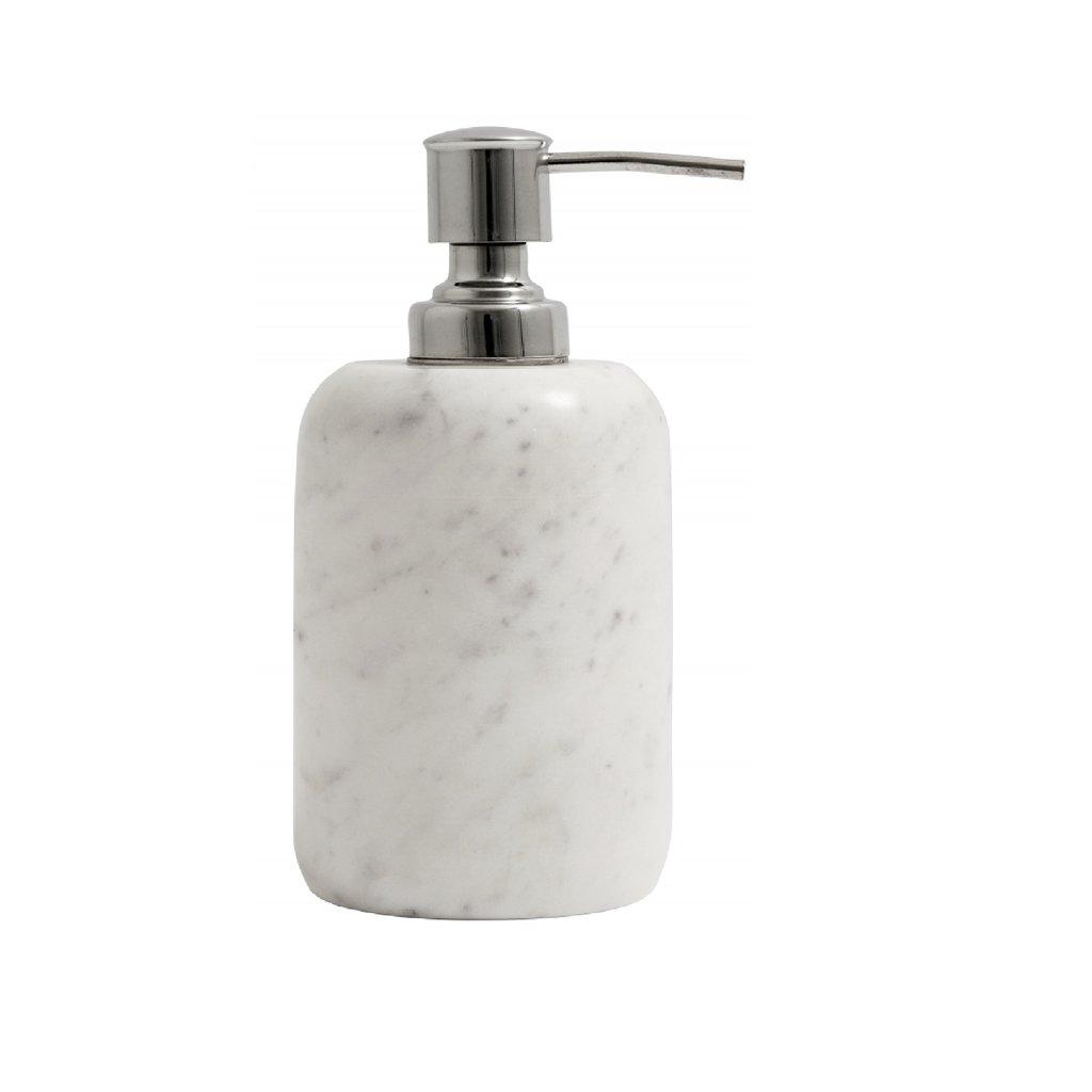 Nordal Nordal - Soap dispenser, white marble/silver top - Zeep dispenser - Wit marmer/zilveren top