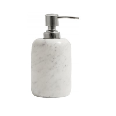 Nordal Nordal - Soap dispenser, white marble/silver top - Zeep dispenser - Wit marmer/zilveren top