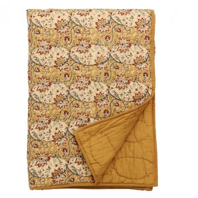 Nordal Quilt, orange/dark red flowers, curry plaid