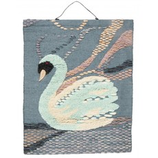 Nordal Wall decoration, swan, petrol colours