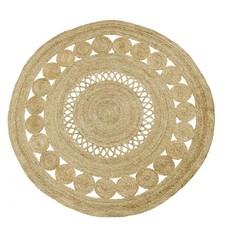 Nordal BALL round carpet w. pattern, Natural