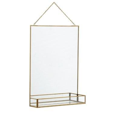 Nordal Nordal - Mirror w/shelf, golden edge - Spiegel met plank - Goud - 50x35