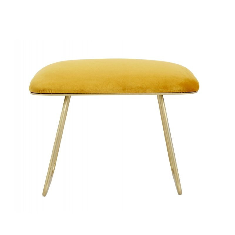 Nordal Warm yellow stool, golden legs, iron