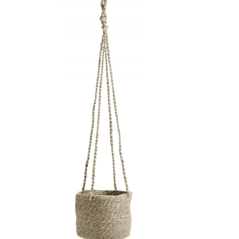 Nordal JUTE hanging pot with pvc inside, natur