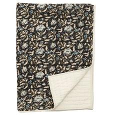Nordal Quilt, flowers, black/beige, off w.back plaid