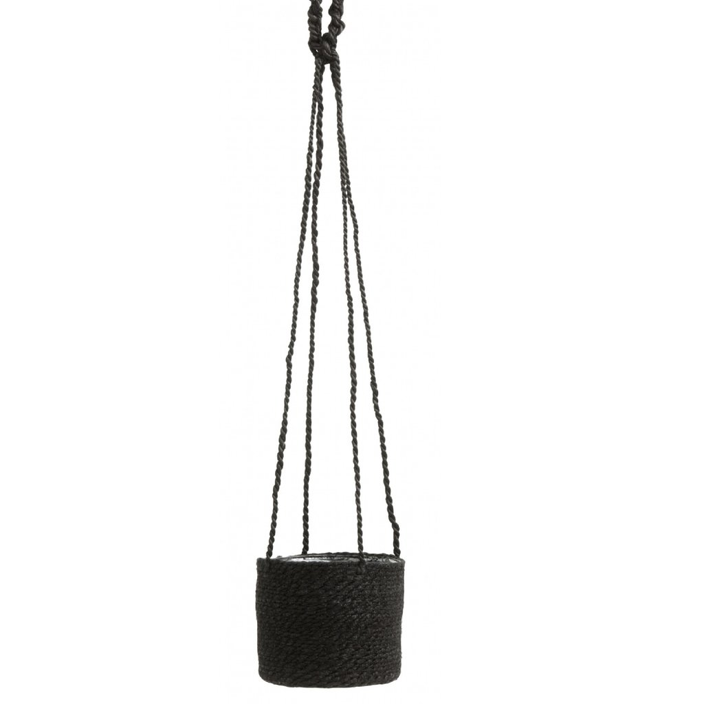 Nordal JUTE hanging pot with pvc inside, black
