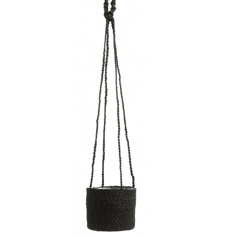 Nordal JUTE hanging pot with pvc inside, black