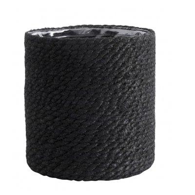 Nordal Jute basket with pvc inside, black, L
