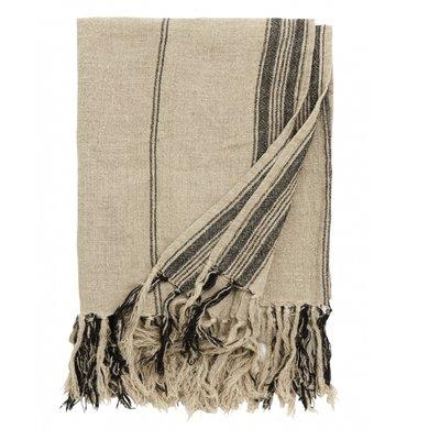 Nordal Blanket, natural linen w/black stripes plaid