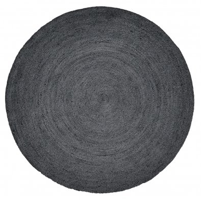 Nordal JUTE round carpet, black vloerkleed