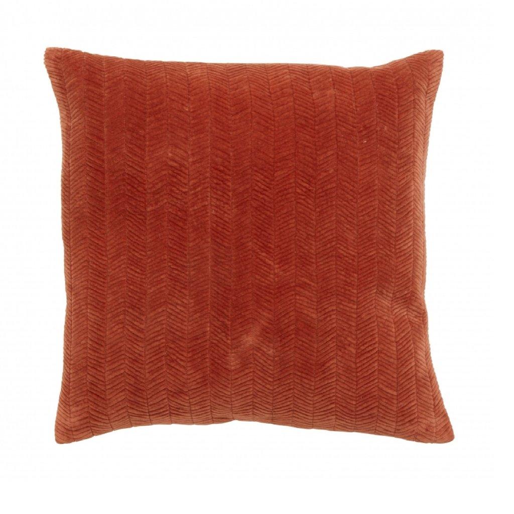 Nordal Cushion cover, fine lines, rust, velvet 48 x 48 cm