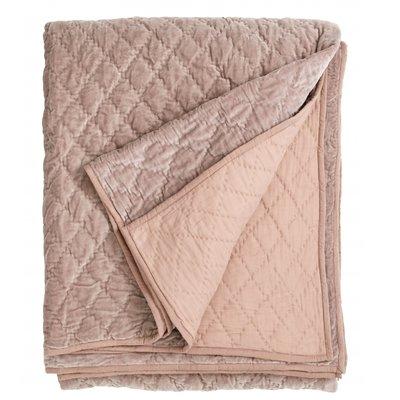 Nordal Nordal - Velvet quilt, plaid, bed spread, dusty rose - Plaid velvet - Dusty rose - 220x270