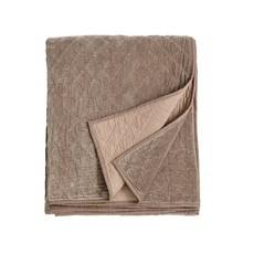 Nordal Nordal - Velvet quilt, plaid, bed spread, beige - Plaid velvet - 220 x 270