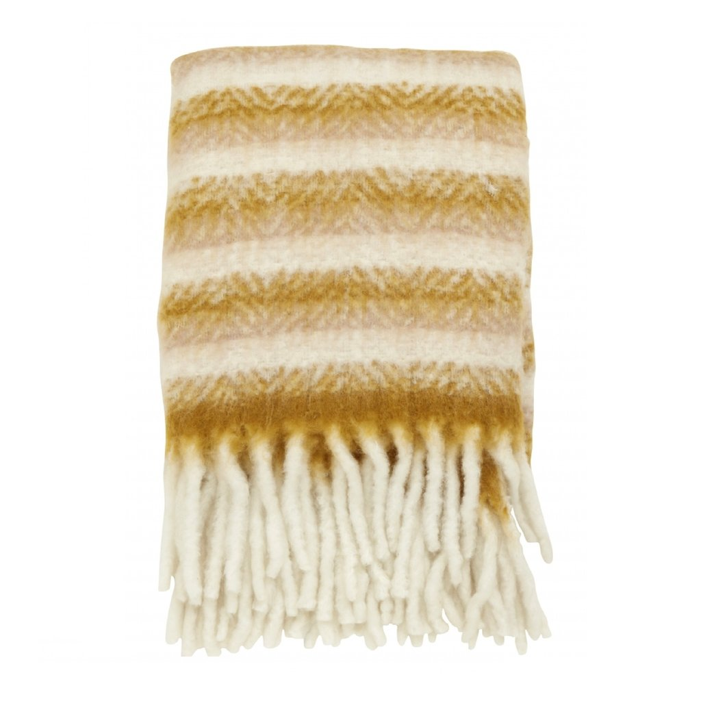 Nordal Blanket, mustard/off white, mohair look plaid