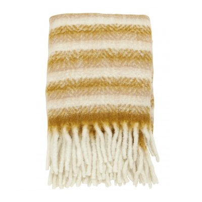Nordal Blanket, mustard/off white, mohair look