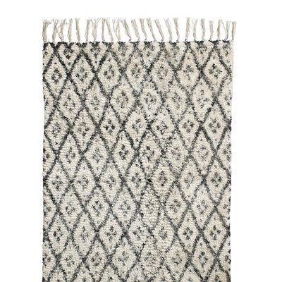 Nordal Nordal - Carpet, diamonds, off white/black, 200 cm. x 250 cm. - Vloerkleed diamonds - Offwhite/zwart