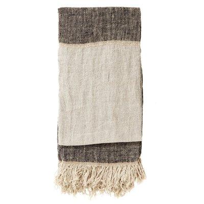 Nordal Nordal - Bed cover w/fringes, linen, black/natural- Plaid linen - Zwart/Naturel